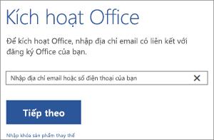 Hiển thị hộp thoại Kích hoạt nơi bạn có thể đăng nhập để kích hoạt Office