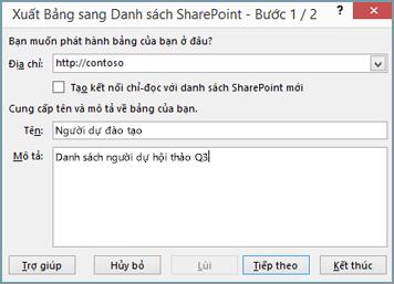 hộp thoại trình hướng dẫn xuất sang sharepoint