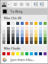 Menu màu phông chữ trong Excel dành cho Máy tính chạy Windows.