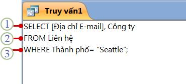 Tab đối tượng SQL hiển thị một câu lệnh SELECT