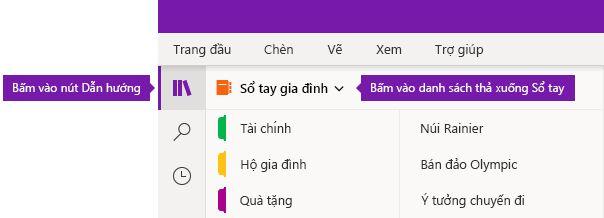 Bung rộng danh sách Sổ tay trong OneNote cho Windows 10