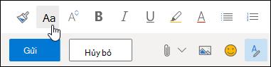 Tùy chọn kích cỡ ảnh chụp màn hình của phông trên thanh công cụ định dạng.