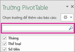 Hộp tìm kiếm trong hộp trường PivotTable