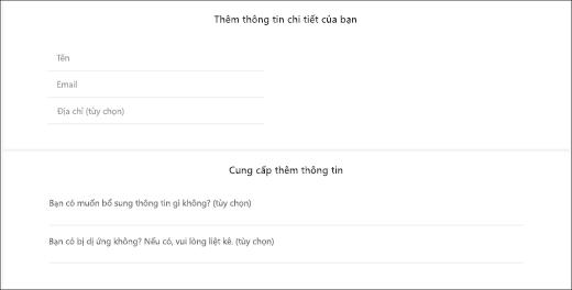 Ảnh chụp màn hình: Hiển thị các câu hỏi tùy chỉnh mạo cho khách hàng.
