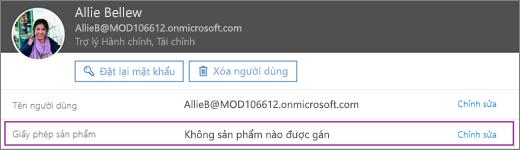 Ảnh chụp màn hình hiển thị thông tin cho người dùng có tên là Allie Bellew. Sản phẩm giấy phép vùng Hiển thị không có sản phẩm đã được gán cho người dùng và tùy chọn để sửa sẵn dùng.