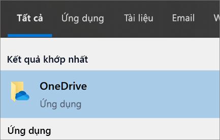 Ảnh chụp màn hình khi tìm kiếm ứng dụng OneDrive trên máy tính trong Windows 10