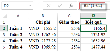 Tỷ lệ phần trăm cho kết quả trong cột D