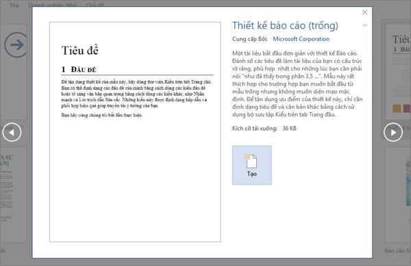 Hiển thị xem trước mẫu thiết kế báo cáo trong Word 2016.