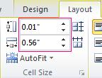 Đặt chiều cao và chiều rộng của một ô trong bảng