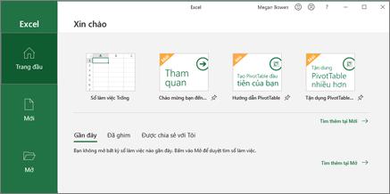 Tạo sổ làm việc Excel.