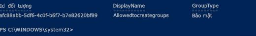 Nhóm thông tin thông qua Azure AD PowerShell