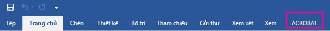 Acrobat tab sẽ xuất hiện ở cuối dòng các tab.
