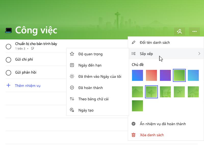 Ảnh chụp màn hình hiển thị menu sắp xếp được bung rộng với các tùy chọn sau: tầm quan trọng, hạn ngày, được thêm vào ngày của tôi, hoàn thành, chữ cái, ngày tạo
