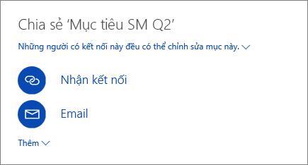 Ảnh chụp màn hình hiển thị cách chia sẻ tệp trong OneDrive