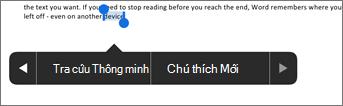 Gõ nhẹ vào chú thích mới sau khi chọn văn bản trong Word