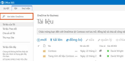 Ảnh chụp màn hình của Hộp Truy vấn OneDrive trong Office 365.