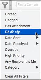 Sử dụng Được đề cập trên menu Lọc email để tìm kiếm các email mà bạn đang @được đề cập