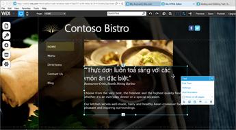 Trong thiết kế website Wix, chọn Sửa