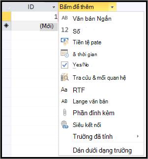 màn hình đoạn mã của bấm để thêm dữ liệu kiểu thả xuống