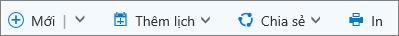 Thanh lệnh lịch dành cho Outlook.com