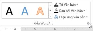 Chọn công cụ khởi động hộp thoại kiểu WordArt