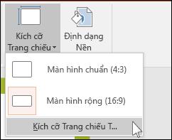 Trên tab Thiết kế của Dải băng, chọn Kích cỡ Trang chiếu, rồi chọn Kích cỡ Trang chiếu Tùy chỉnh.
