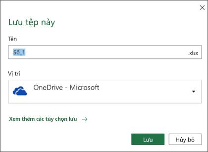 Hộp thoại lưu trong Microsoft Excel cho Office 365