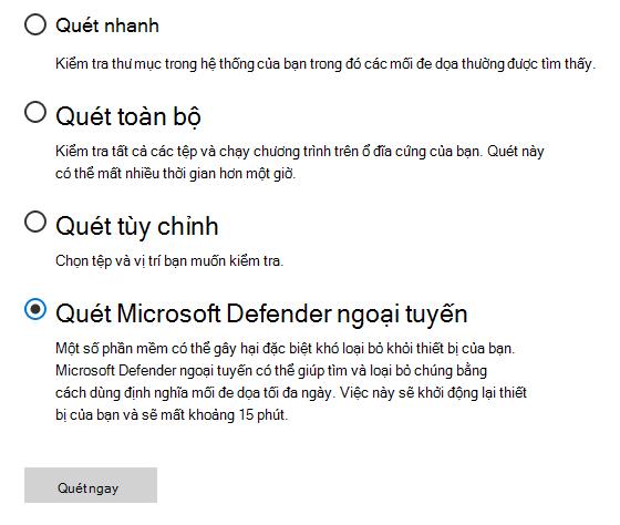 Hộp thoại quét tùy chọn Hiển thị trình quét Microsoft Defender ngoại tuyến được chọn.