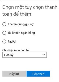 Menu Chọn tùy chọn thanh toán, hiển thị các tùy chọn sẵn có cho Hoa Kỳ.