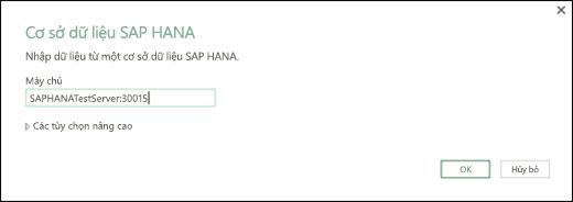Hộp thoại cơ sở dữ liệu SAP HANA