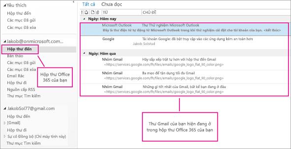 Sau khi bạn nhập email vào hộp thư Office 365 của mình, nó sẽ xuất hiện ở hai vị trí.