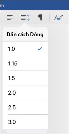 Hiển thị dòng tùy chọn dãn cách trong Word cho iPad.