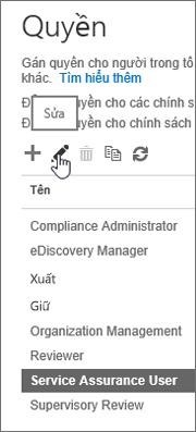 Hiển thị vai trò Người dùng Đảm bảo Dịch vụ được chọn sau đó biểu tượng chỉnh sửa được chọn.