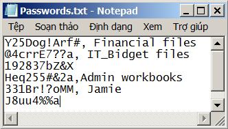 Danh sách mật khẩu trong một tệp Notepad