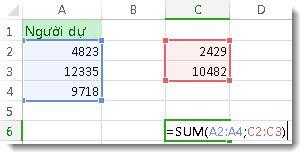 Dùng hàm SUM với hai phạm vi số
