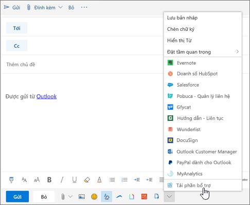 Ảnh chụp màn hình hiển thị thư email với tùy chọn Tải phần bổ trợ được chọn.