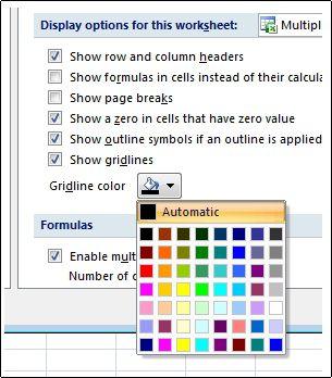 Thiết đặt màu đường lưới trong hộp thoại Tùy chọn Excel