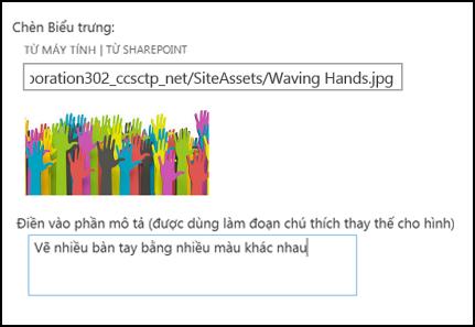 Hộp thoại logo và tiêu đề site mới trong SharePoint Online, hiển thị cách tạo văn bản thay thế cho hình ảnh logo