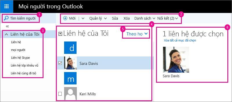 Ảnh chụp màn hình của trang Mọi người Outlook.