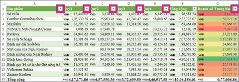 Bảng Excel hiển thị các bộ lọc được tích hợp