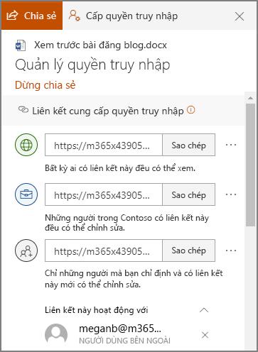 Ảnh chụp màn hình của Pa-nen quản lý Access Hiển thị các nối kết chia sẻ.