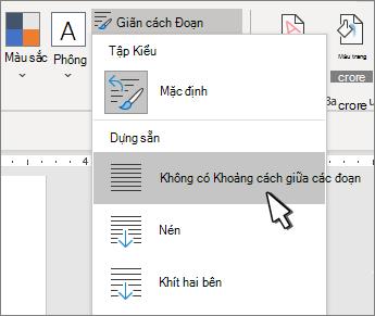 Đặt không gian đơn trên tài liệu
