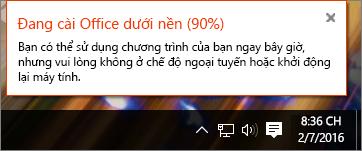 Hộp thoại hiển thị cài đặt Office kẹt ở 90%
