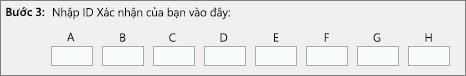 Hiển thị nơi bạn nhập ID xác nhận trung tâm kích hoạt sản phẩm cung cấp qua điện thoại