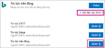 Nút quản lý trên trang trình kết nối