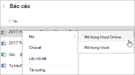 Mở tệp trong Word Online trong OneDrive