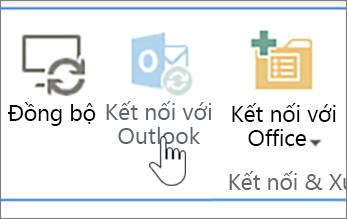 Dải băng với nút kết nối bị tắt với Outlook với nó được tô sáng