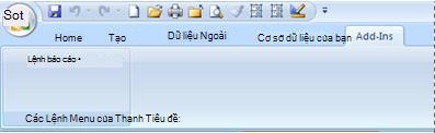 Tab Bổ trợ chứa menu tùy chỉnh