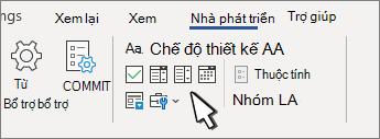 Tab nhà phát triển Hiển thị các điều khiển nội dung