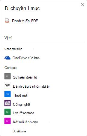 Ảnh chụp màn hình của việc chọn một đích khi di chuyển tệp từ OneDrive sang SharePoint
